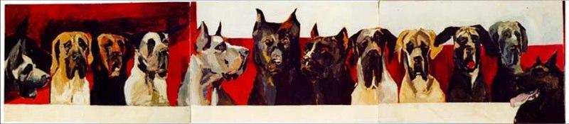 Cène2 Acrylique sur toile - 1999 450x100 cm